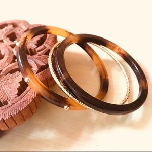 Stacking Bangle Bracelets Faux Tortoiseshell 3 pcs